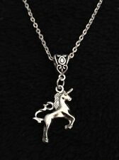 """3D Unicorn Charm Necklace Pendant Mythical Magical Horse Horn 18"""" Chain Silver"""