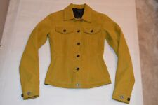 fbd5f89d07 Burberry Prorsum Mustard Yellow Suede Leather Button Up Jacket Coat Small /  UK8