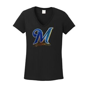 Women's Milwaukee Brewers spangle t shirt faux rhinestone lots of sparkle