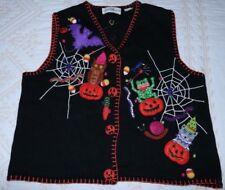 Vintage Marisa Christina black HALLOWEEN cardigan sweater vest spider pumpkin XL