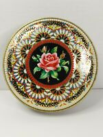 VINTAGE Round Tin Floral Rose Embossed Tin Container Made in England