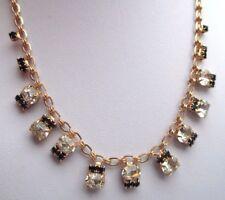 collier bijou vintage chaîne petits cristaux couleur diamant et noir 2670