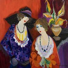 Deco,Art QUALITY CANVAS PRINT, Itzchak Tarkay oil painting Jane and Marina 15x15