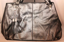 Misha Black Synthetic Leather Purse with Tassles 113