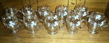 Set of 8 Antique Iridescent Glass Cups w/ White Painted Decoration