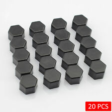 19mm Car Vehicle Wheel Hub Center Screw Bolt Nuts Rubber Cap Black (20 PCS)