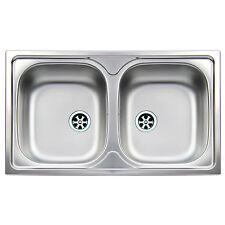 Lavello da cucina Apell in acciaio inox 86x50cm a doppia vasca modello Atmosfera