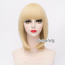 Light Blonde Short 40CM Bob Fashion Party Women Cosplay Wig with Bangs + Wig Cap