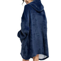 Blue Blanket Sweatshirt Lining Plush Comfy Fleece Oversized Hoodie Pocket Warm
