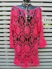 Beautiful Hand-Made Coral Pink Crochet Dress/Beach Cover-Up - Seriously Stunning