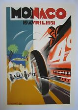 Vintage Monaco Grand Prix 1950's Race Car Poster