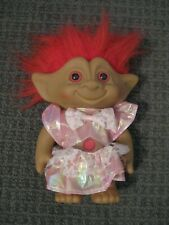 """Vintage Troll Doll with Dress & Red Hair-8"""" Tall-Ace Novelty Co., Inc.-Mint"""