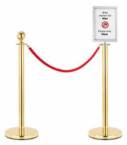 Personenleitsystem Abgrenzungsständer Absperrung Set 1,5m Seil Info Schild Gold