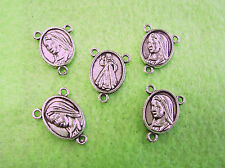 5 ROSARY Centers - Divine Mercy & Mother Mary  - Pewter - ~* NEW *~ for Rosaries