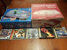 SEGA SATURN CONSOLE + 5 GAMES + BOX + ARCADE STICK