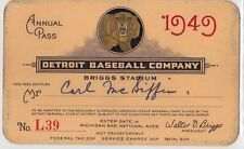 RARE 1949 Detroit Tigers Annual Pass to Briggs Stadium baseball ticket