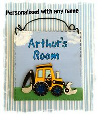 Digger Door Sign Plaque PERSONALISED ANY NAME Unusual Boy's Children's Wood gift