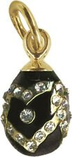 Faberge Egg Pendant / Charm with crystals 1.6 cm black #0850
