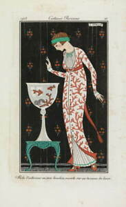 George Barbier Embroidered silk housecoat Poster Giclee Canvas Print