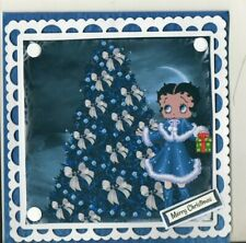 NOVELTY  SQUARE HANDMADE BETTY BOOP IN BLUE OUTFIT BY TREETHEMED MERRY XMAS CARD