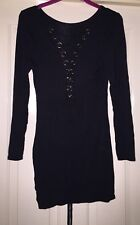 Black Lace Up Mini Dress Size 8