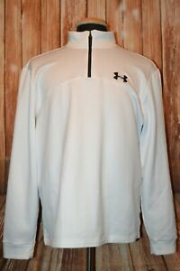 Under Armour Men's Loose Fit 1/4 Zip Pullover White Long Sleeve Shirt Sz L