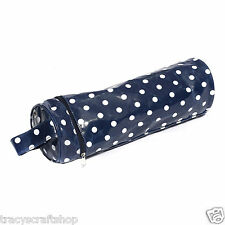 Yarn and Needle Holder Bag Knit Bag - Navy Spot Easy Wipe Clean Vinyl