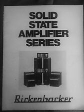 "Original Vintage Rickenbacker Solid State Amplifier Catalog 8.5""x11"" 12 Pages!"
