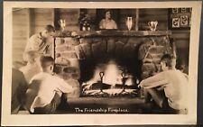 RPPC Real Photo Postcard ~ Wakefield RI ~ Boys Near Friendship Fireplace At Camp