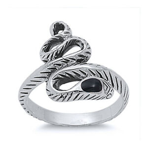 Fine Women 18mm 925 Silver Simulated Black Onyx Accented Snake Ladies Ring Band