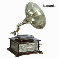 Retro Niquel Gramophone Wood & Metal Phonograph Vintage Record Player *HOMANIA*