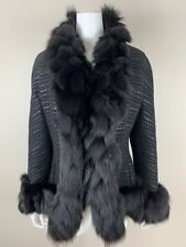 Pamella Roland Black Fox Fur Trim Leather Wool Knitted Women Fitted Coat Size M