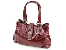 COACH Soho F19711 Red Plum Patent Leather Carryall Shoulder Bag