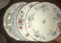 Vtg Mismatched China Dessert Cake Bread Plates~ Set of 4~ Florals 6-7""