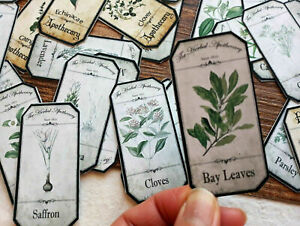 50 Vintage Medicinal Herbal Apothecary Labels Witch Spell Botanical Junk Journal