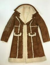 Wilson's Leather MAXIMA Womens Fur Suede Coat Size Large Sherpa Patchwork