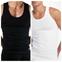 Mens PLAIN VESTS, 100% Cotton Vests Best for all Seasons WHITE BLACK  All Sizes