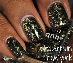 NEW! Deborah Lippmann CLEOPATRA IN NEW YORK Polish Lacquer full size Black Gold
