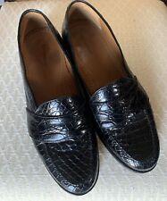 MENS LUX MAGNANNI Black Crocodile Penny Loafers LOUIE 5018 Size 10 1/2 M Spain