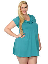 Plus Women Summer Casual Short Sleeve Ruffle Neck Mini Dress