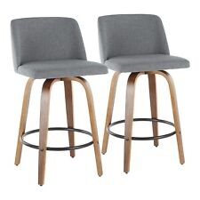 OPEN BOX Toriano Counter Stools in Grey Fabric & Round Black Footrest (Set of 2)