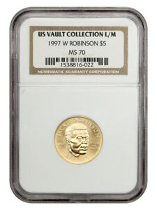 1997-W Jackie Robinson $5 NGC MS70 - Modern Commemorative Gold