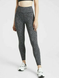 ATHLETA Lightning Static 7/8 Tight S SMALL Black/White YOGA Workout