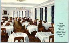 "Highland Park, Illinois Postcard HOTEL MORAINE ""New Amsterdam Room"" Linen c1940s"