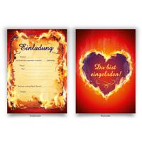 """Einladungen (8 Stück) """"brennendes Herz"""" zum Geburtstag Einladungskarten Karten"""