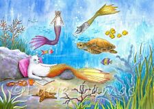 ACEO art print Cat Mermaid 31 turtle sea ocean from original painting L.Dumas