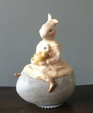 Nicol Sayre, Vintage Easter Egg With Rabbit, German Glass Glitter, Figurine