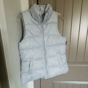Old Navy NWT Gray Puffer Vest Women's Size Small Full Zip Fleece Lined