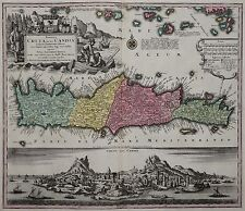 Kreta - Insula Creta nunc Candia - Seutter 1740 - Scarce map of Crete / Iraklion