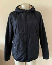 UNIQLO WOMENS FUR LINED BLACK QUILTED JACKET WITH HOOD size L